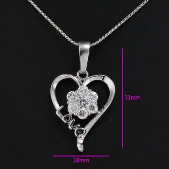 Pendentif coeur avec pierre de zirconium 01C3313