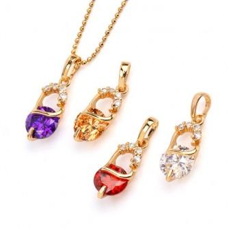Pendentif avec pierre Champagne ou Violet plaqué Or 01C3314