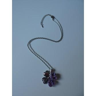 Collier trèfle Violet 01G5245
