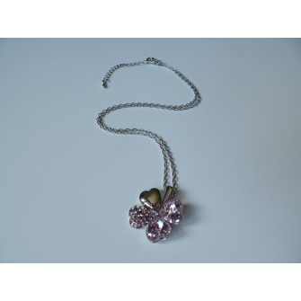 Collier trèfle Rose 01G5244