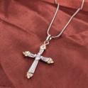 Pendentif croix Pierres de Zirconium Plaqué Rhodium 01C3318