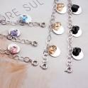 Bracelet avec pierres de zirconium noir tombantes 01D1070