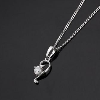 Pendentif Fashion avec pierre de zirconium plaqué Rhodium 01C3319