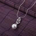 Pendentif avec élégante perle de culture plaqué rhodium 01C3322