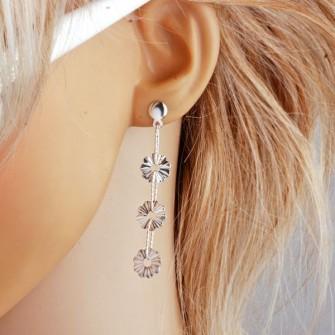 Boucles d'oreilles moderne pendante plaqué rhodium 01A2587