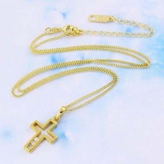Pendentif religieux croix plaqué or 14K - 585/000 01C3328