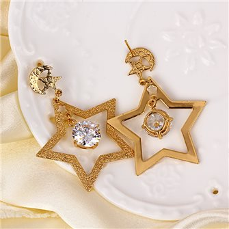 Boucles d'oreilles pendante étoile plaqué Or 01A2610