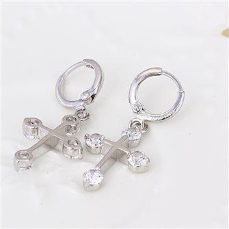 Boucles d'oreilles croix avec pierres de Zirconium 01A2595