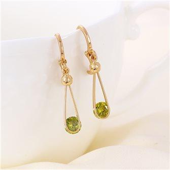Boucles d'oreilles pendante plaqué Or avec pierre de Zirconium Vert Olive 01A2598