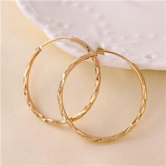 Boucles d'oreilles anneaux sculté plaqué Or 01A2600