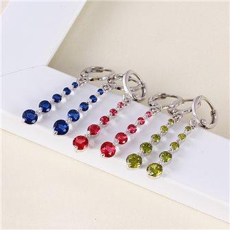 Boucles d'oreilles pendante avec pierres de Zirconium couleur Vert Olive 01A2602