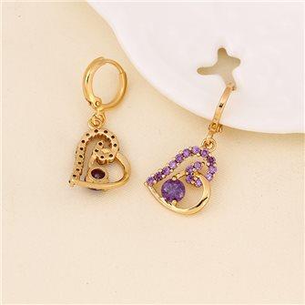 Boucles d'oreilles Coeur plaqué Or avec pierres de Zirconium Violette 01A2604