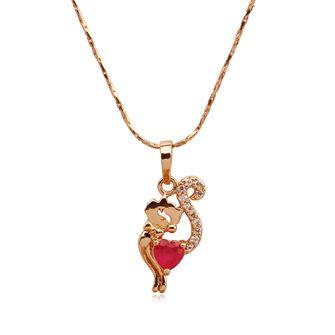 Pendentif Chat plaqué Or Rose avec sa pierre de zirconium Rouge 01C3341