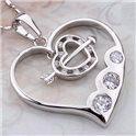 Pendentif Coeur palqué Rhodium 01C3340
