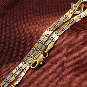 Chaine ou collier très fin Plaqué Or et Rhodium Multicolor 44cm 01B4332